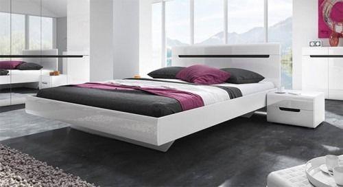 Hektor 32 łóżko 180/200 - biały/biały połysk