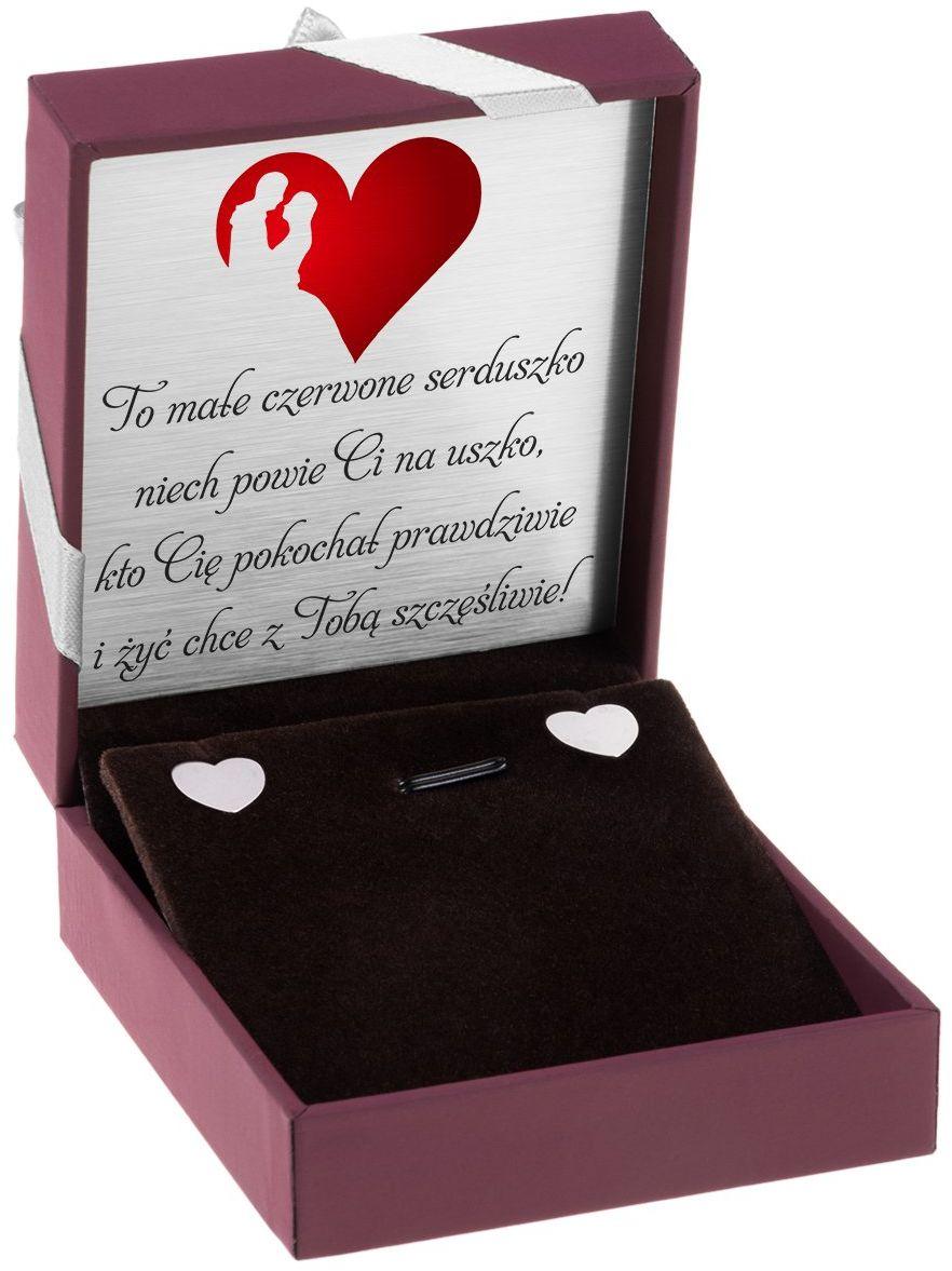 Srebrne kolczyki pr 925 Płaskie serca Dedykacja