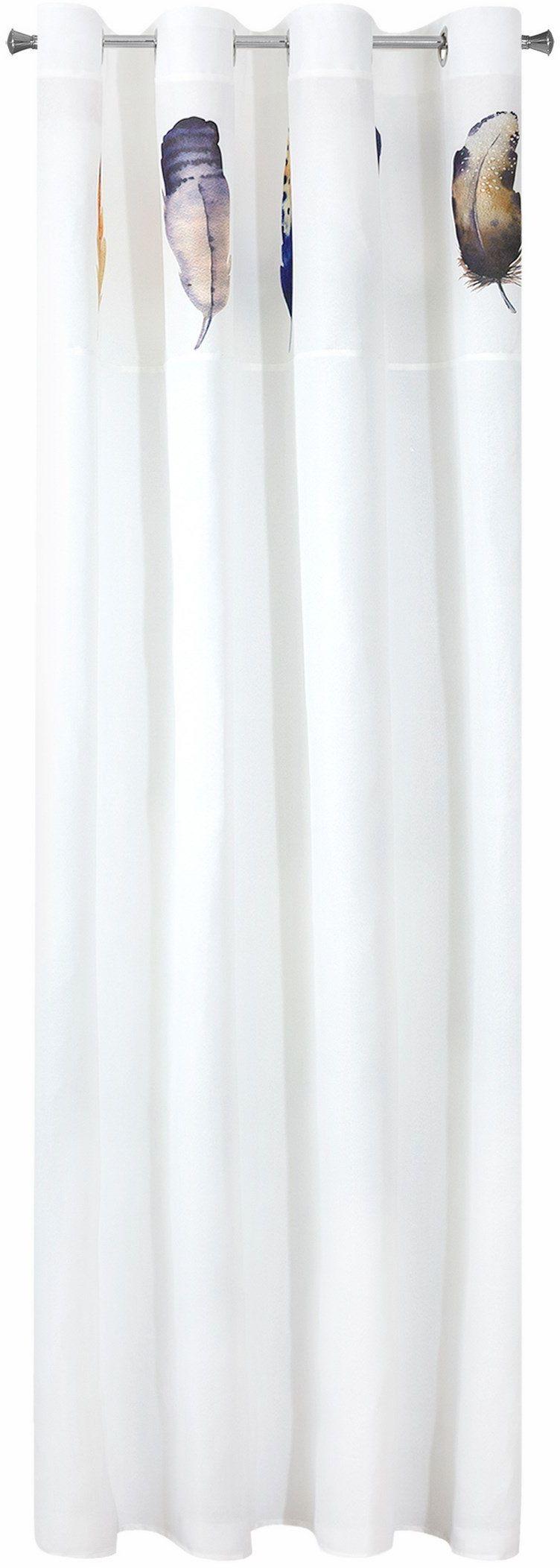 Eurofirany Zasłona z oczkami z kolorowymi piórami, poliester, biała, 250 x 140 x 1 cm