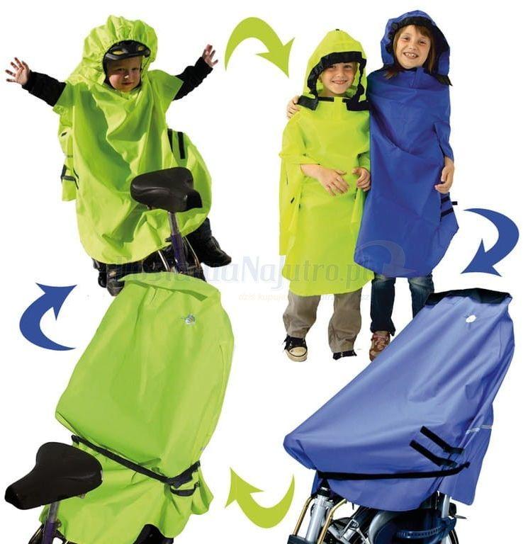 Poncho na fotelik rowerowy Lunari peleryna ochraniacz 4w1 niebieski pokrowiec