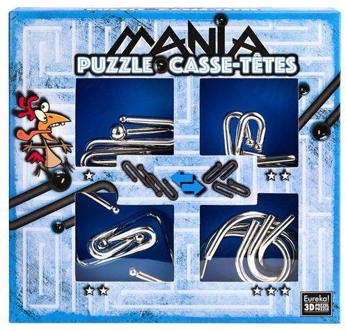 Łamigłowki metalowe 4 sztuki Puzzle-mania zestaw niebieski ZAKŁADKA DO KSIĄŻEK GRATIS DO KAŻDEGO ZAMÓWIENIA