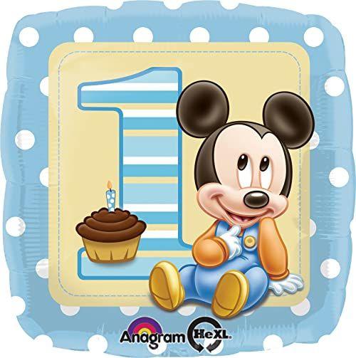Disney Balon foliowy Myszka Mickey Baby Boy 45,7 cm (18 cali) Dostarczany w stanie płaskim i nienadmuchanym