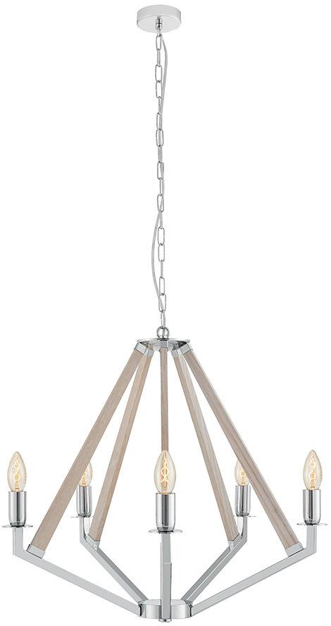 Lampa wisząca żyrandol Nez 5 10491519 oprawa chromowa / dąb bielony Kaspa
