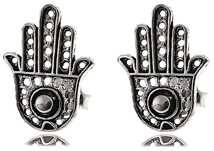 Delikatne oksydowane srebrne kolczyki celebrytki dłoń fatimy ręka talizman amulet srebro 925 K2926