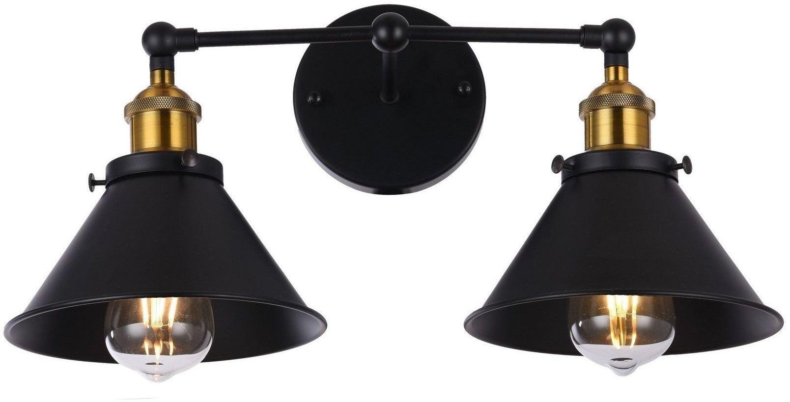 LAMPA ŚCIENNA KINKIET LOFTOWY CZARNY GUBI DUO
