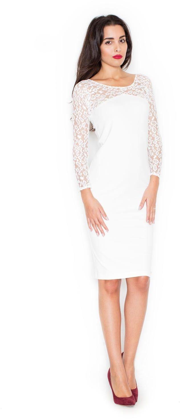 Ecru elegancka ołówkowa sukienka z koronkowym długim rękawem