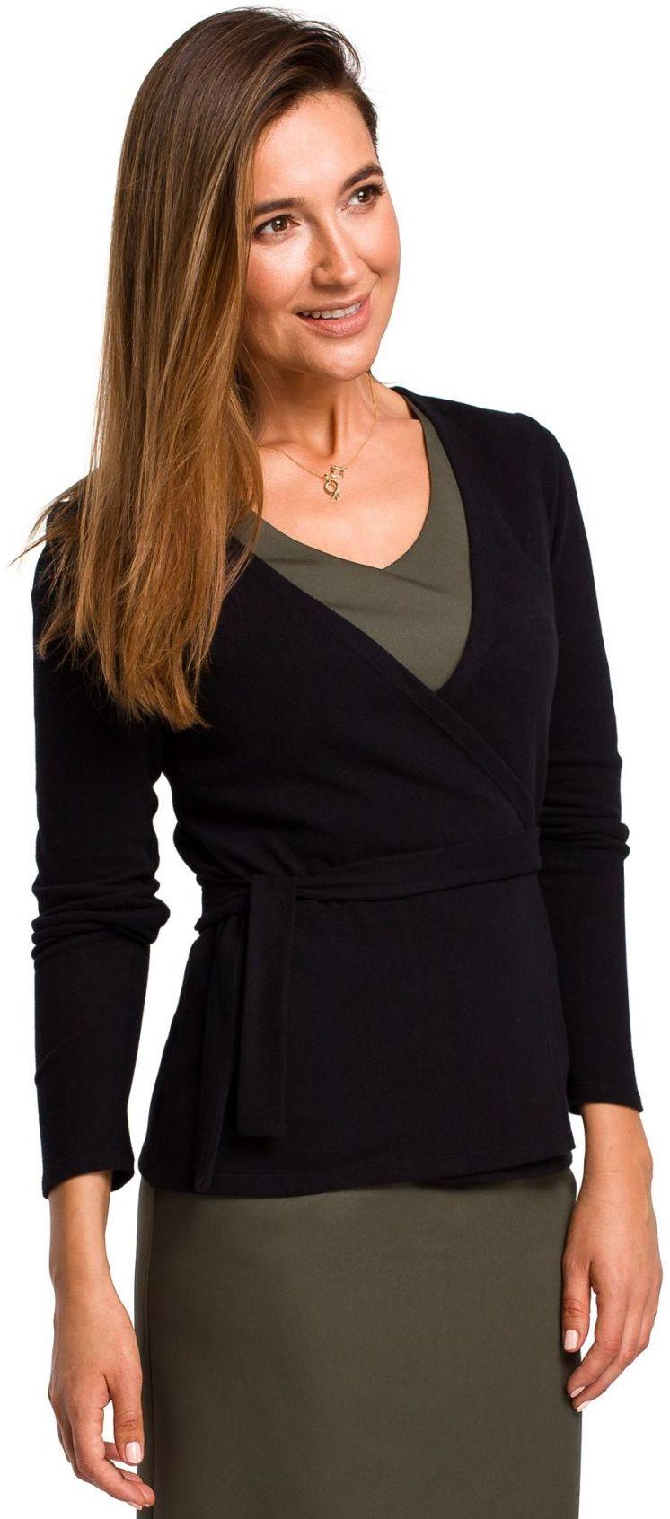 S173 Sweterek wiązany na zakładkę - czarny