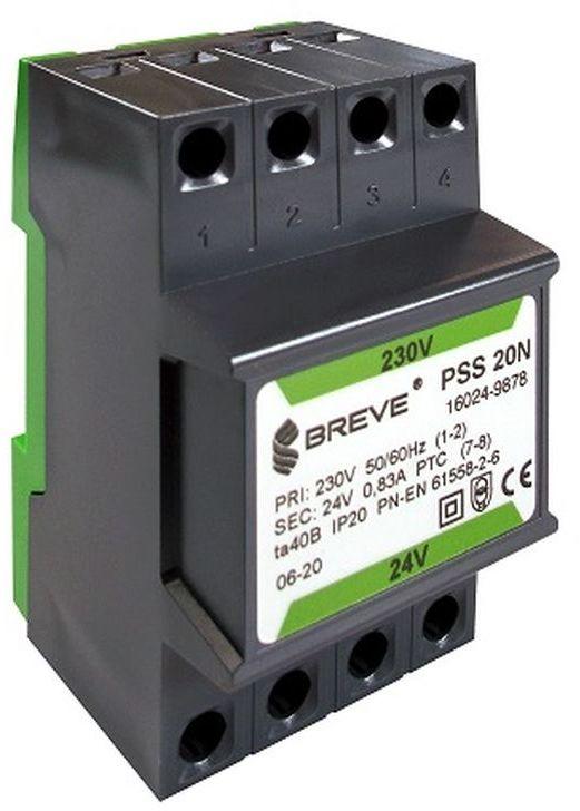 Transformator 1-fazowy modułowy PSS 20N 20VA 230/24V /na szynę/ 16024-9878