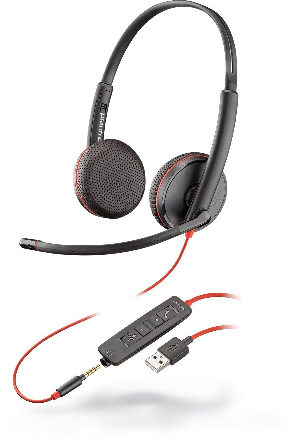Plantronics Blackwire 3225 USB-A Zestaw nagłowny na dwoje uszu ze złączem jack 3,5mm oraz adapterem USB