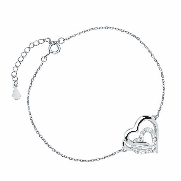 Rodowana srebrna bransoleta gwiazd celebrytka serce serduszko cyrkonie srebro 925 Z0655BR