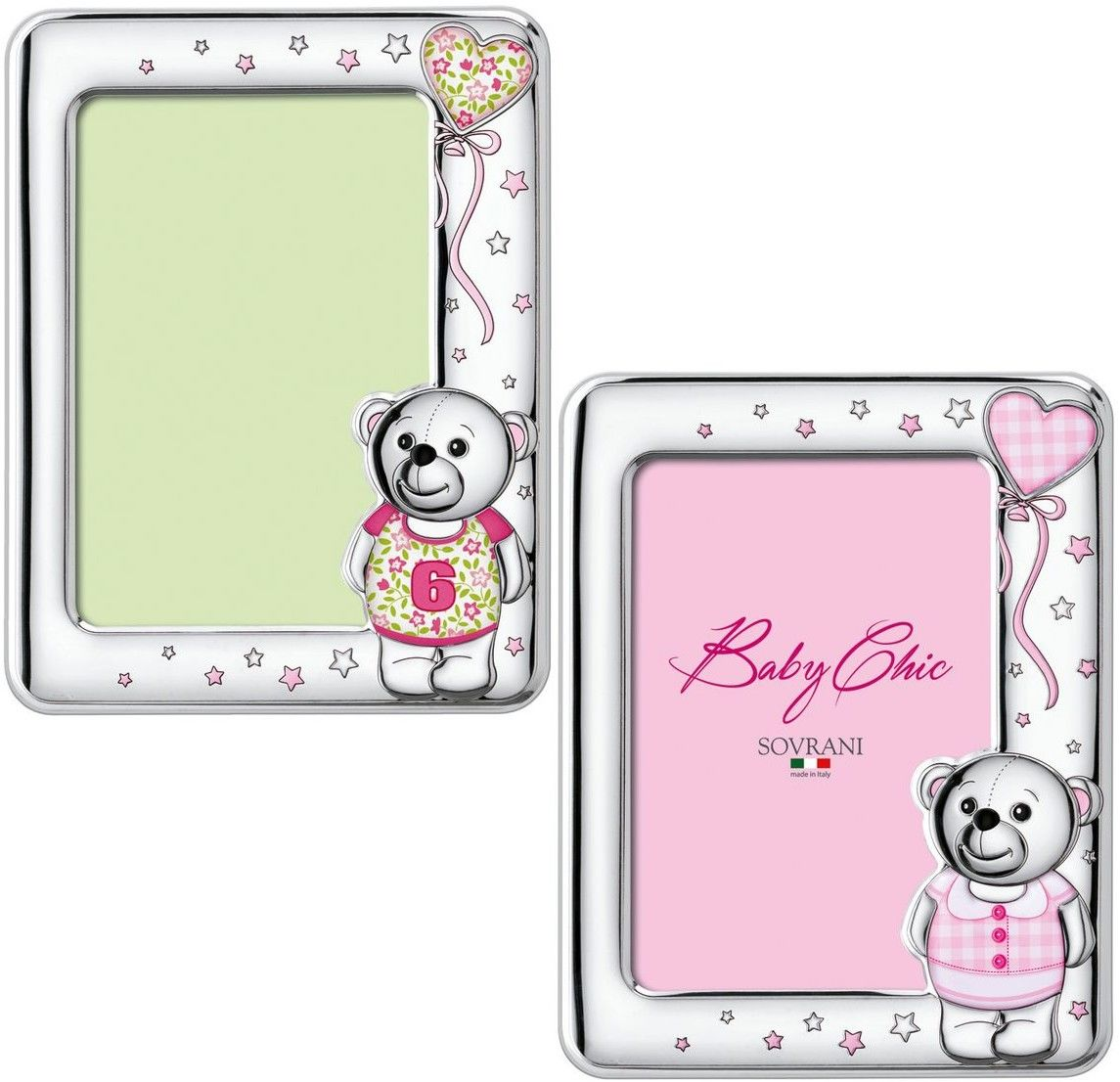 Ramka dziecięca na zdjęcie z naklejkami miś Rozmiar: 13x18 cm Kolor: Różowy SKU: W5150R
