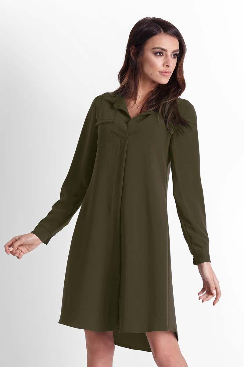 Khaki rozkloszowana sukienka koszulowa z paskiem