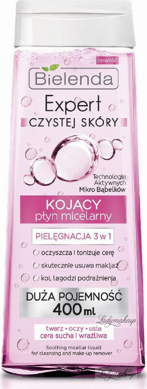 Bielenda - Soothing Micellar Liquid For Cleansing and Make-Up Remover - Expert czystej skóry - Pielęgnacja 3w1 - Kojący płyn micelarny - 400 ml