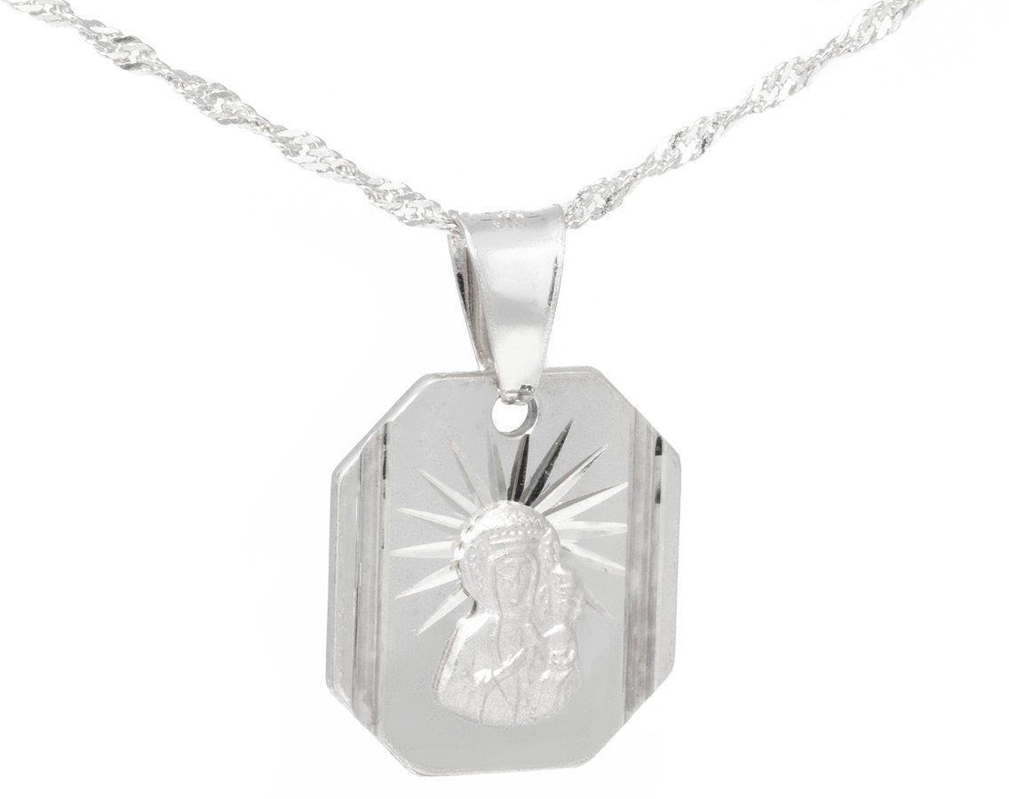 Srebrny medalik Matka Boska Częstochowska Pamiątka na Chrzest