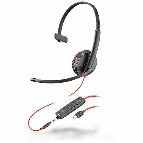 Plantronics Blackwire 3215 Zestaw nagłowny na jedno ucho ze złączem jack 3,5mm oraz adapterem USB