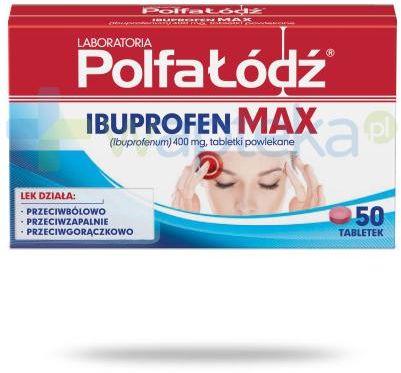 Ibuprofen Max 400mg Laboratoria Polfa Łódź 50 tabletek
