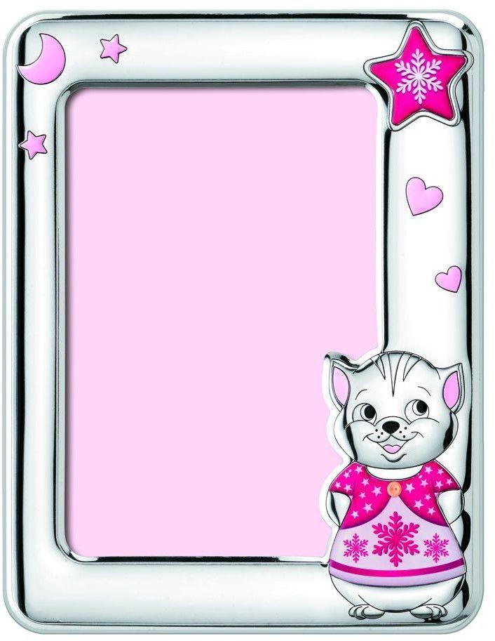 Ramka dziecięca na zdjęcie z naklejkami kotek Rozmiar: 13x18 cm Kolor: Różowy SKU: W5152R