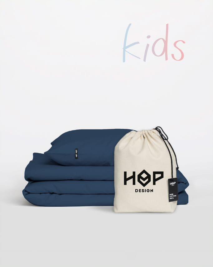 Pościel Perkal 90x120 Hop Design Kids Pure Granatowy