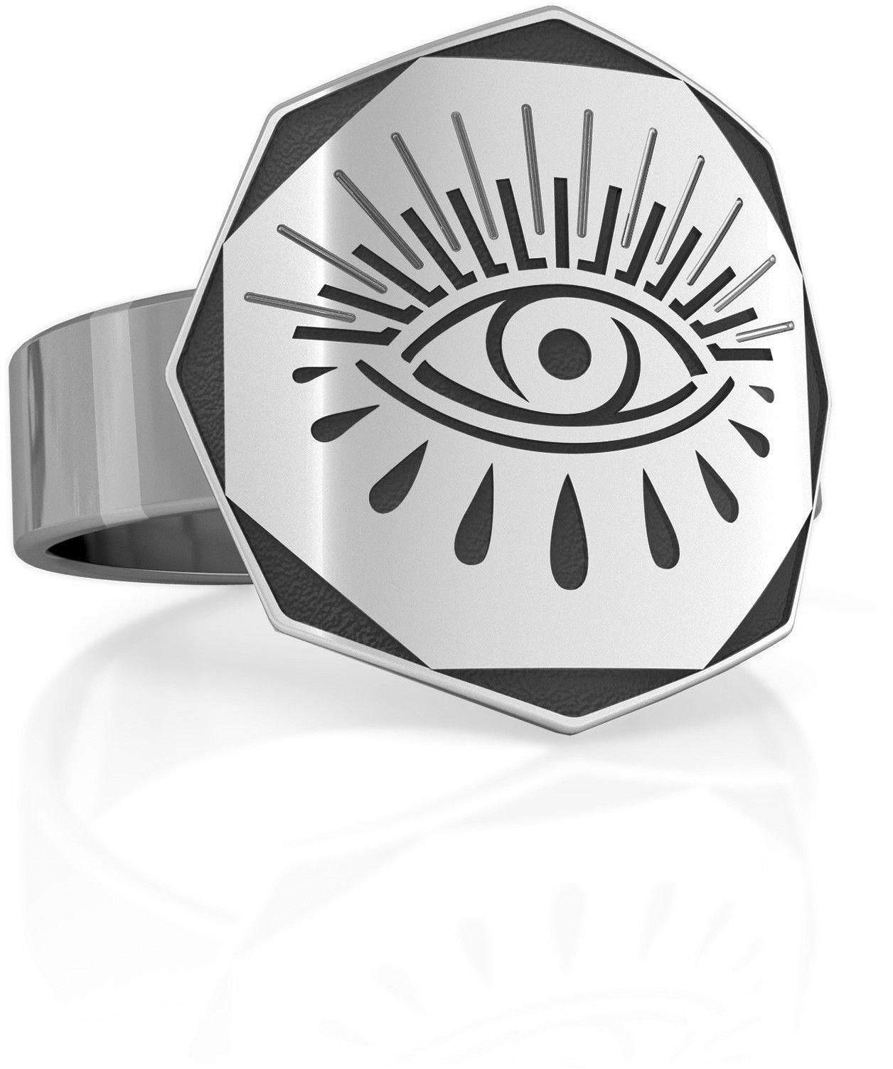 Srebrny sygnet oko Horusa, MON DÉFI, srebro 925 : ROZMIAR PIERŚCIONKA - 17 UK:R 18,00 MM, Srebro - kolor pokrycia - Pokrycie platyną
