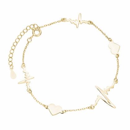 Pozłacana srebrna bransoleta gwiazd choker celebrytka serca serduszka linia życia tętno puls srebro 925 Z1821BG