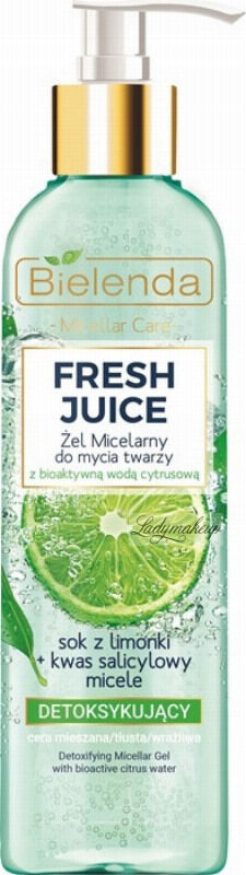 Bielenda - Fresh Juice - Detoxifying Micellar Gel with Bioactive Citrus Water - Detoksykujący żel micelarny do mycia twarzy z bioaktywną wodą cytrusową - 190 g