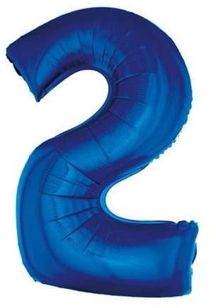 """Balon foliowy 33,5"""" na urodziny, cyfra 2 niebieska"""