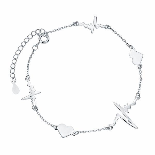 Rodowana srebrna bransoleta gwiazd choker celebrytka serca serduszka linia życia tętno puls srebro 925 Z1821BR