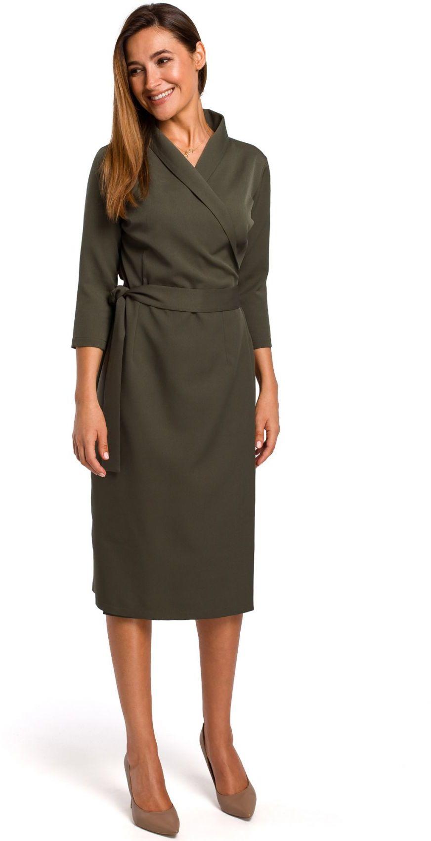 S175 Sukienka na zakładkę z paskiem - khaki