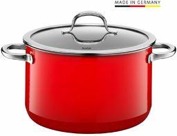 Silit Passion Red garnek do gotowania / mięsa, wysoki, 24 cm, szklana pokrywka, 6,4 l, Silargan, ceramika funkcyjna, garnek indukcyjny, czerwony