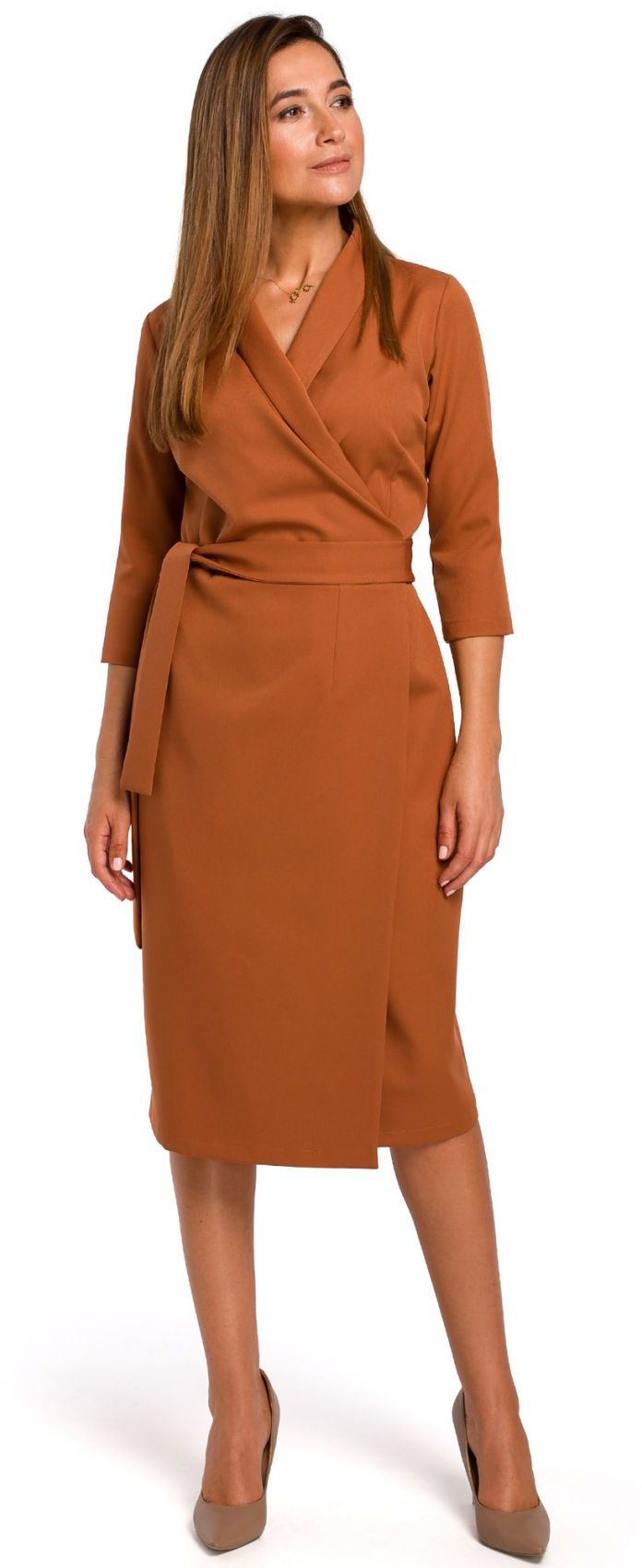 S175 Sukienka na zakładkę z paskiem - ruda