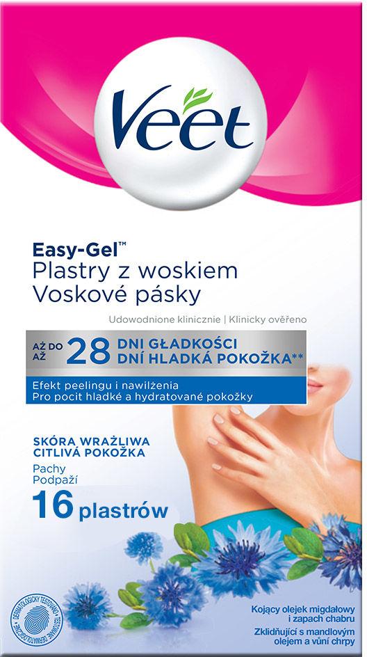 Veet Plastry z woskiem do depilacji pach dla skóry wrażliwej 16 szt.