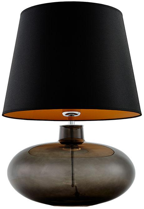 Lampa stołowa Sawa 40587102 oprawa przezroczysty grafit / abażur czarny z miedzią Kaspa