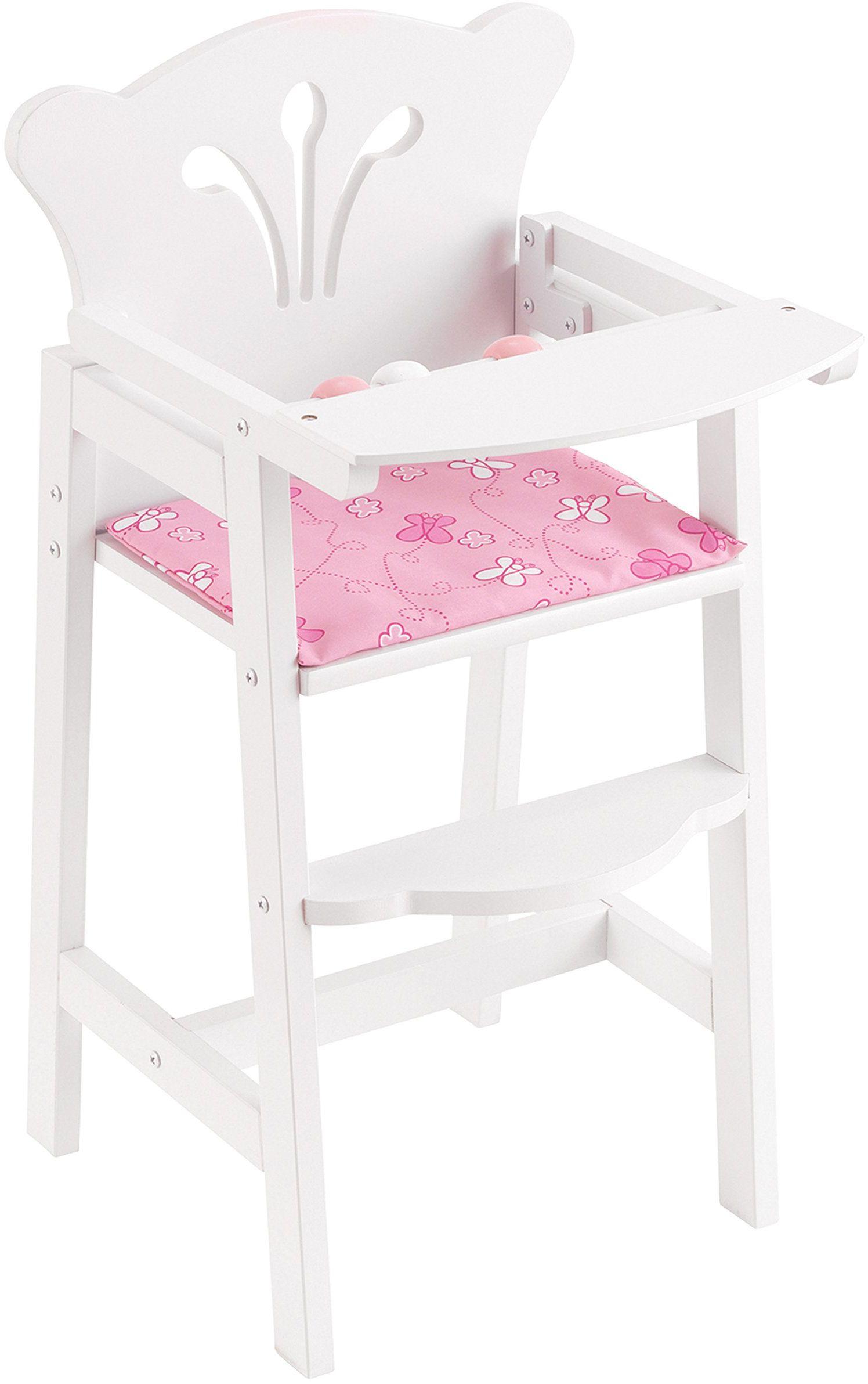 KidKraft 61101 małe krzesełko dla lalek Lil'' Doll 61101 - wysokie krzesełko dla lalek liliowe, białe, rozmiar uniwersalny