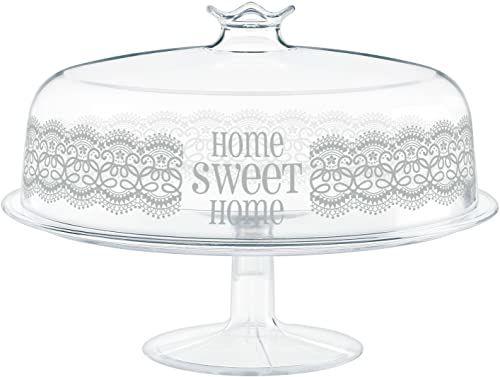 Cosmoplast HomeSweetHome etHome etażerka z pokrywką, tworzywo sztuczne, biała, idealna do deserów do 24 cm