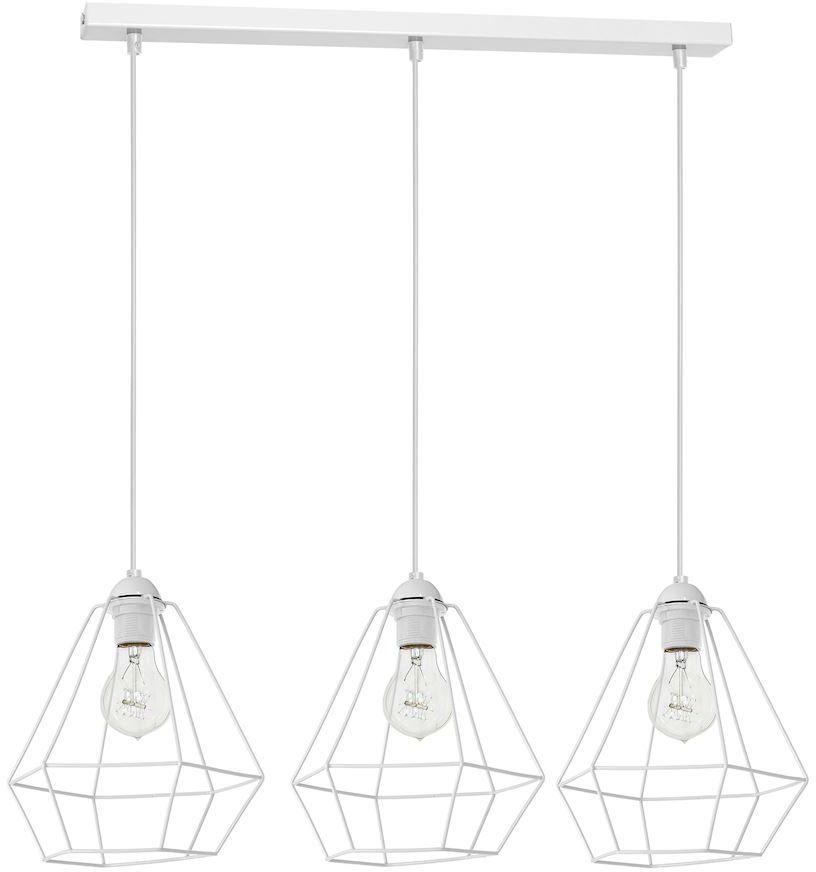 Milagro ALMA WHITE MLP8963 lampa wisząca biały przestrzenny metalowy klosz o geometrycznym kształcie 3xE27 60cm