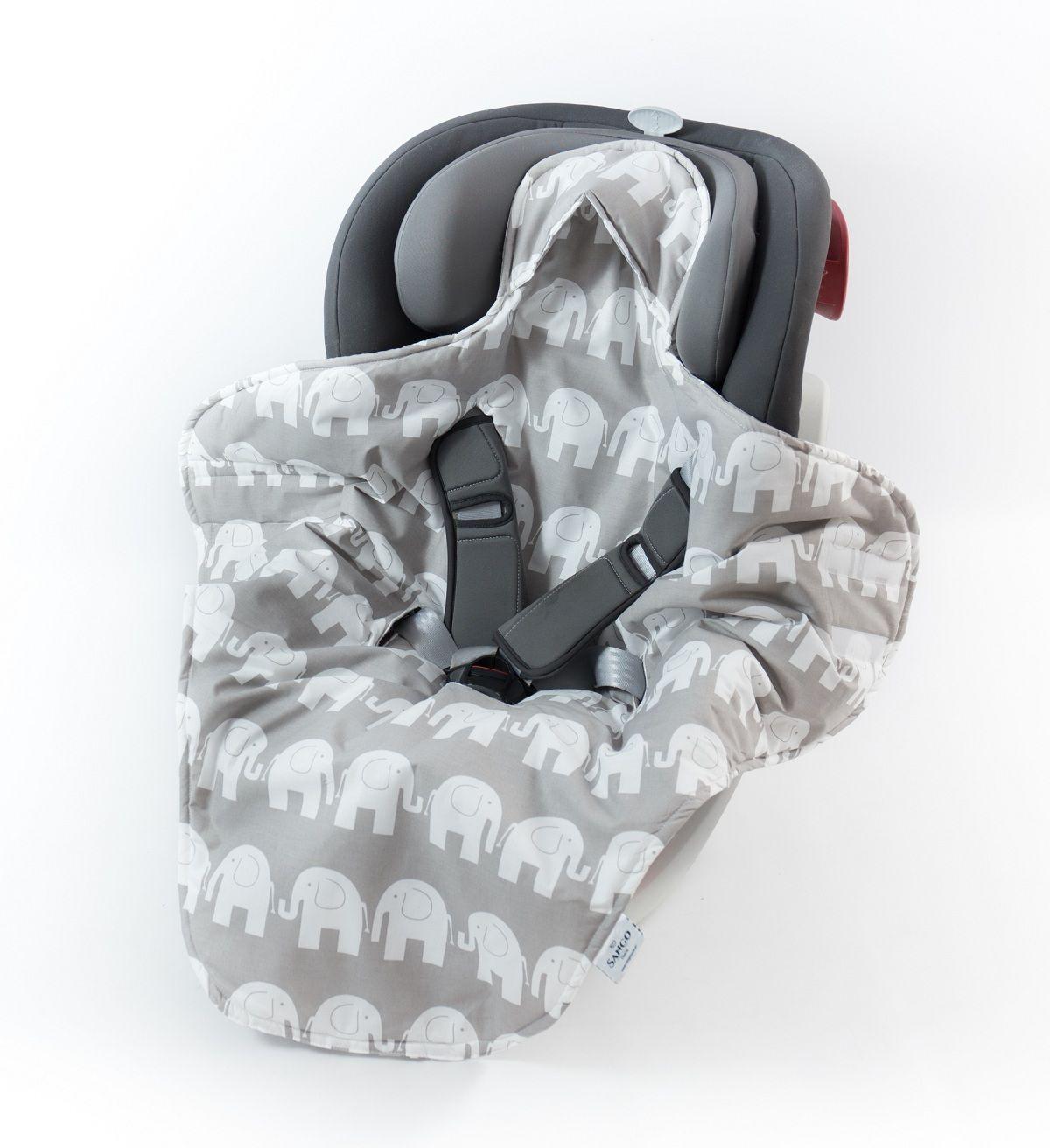 Otulacz do nosidełka - szare słonie
