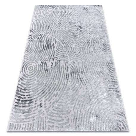 Dywan MEFE nowoczesny 8725 Koła odcisk palca - Strukturalny, dwa poziomy runa szary 80x150 cm
