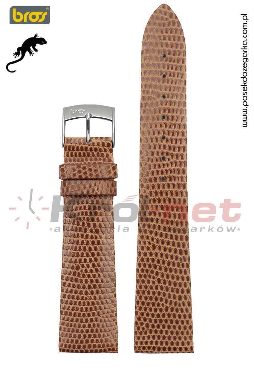 Pasek do zegarka Bros 8231/28/16 - jaszczurka, jasny brąz