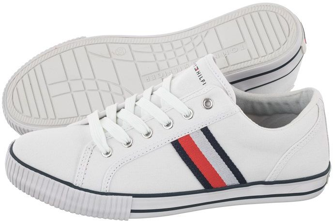 Sneakersy Tommy Hilfiger Low Cut Lace-Up Sneakre T3B4-31070-1185 X336 White/Blue (TH191-b)