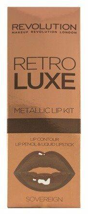 Makeup Revolution Retro Luxe Metallic Lip Kit Zestaw do ust Pomadka+Konturówka SOVEREIGN