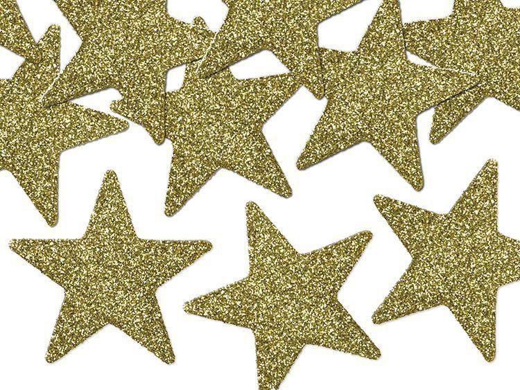 Gwiazdki brokatowe zlote 5cm 8szt dg5-019