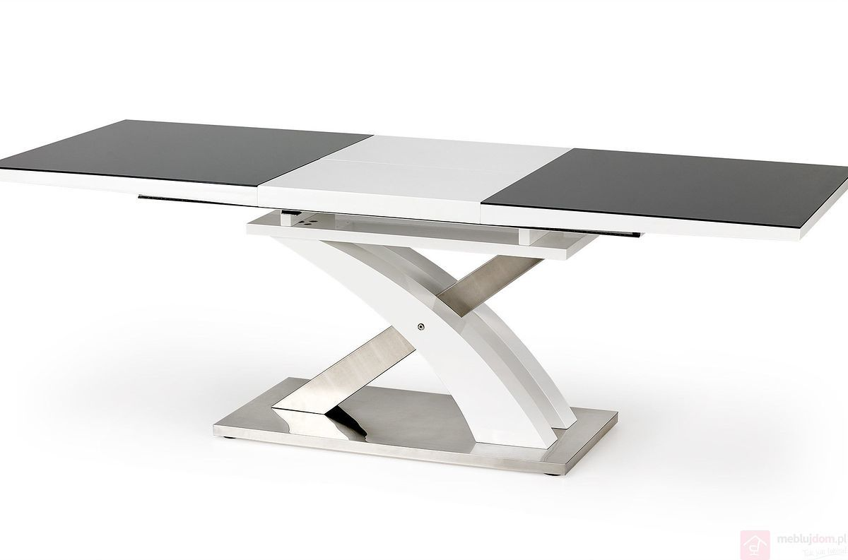 Stół SANDOR 2 Halmar Czarno-biały, 90x160-220 cm