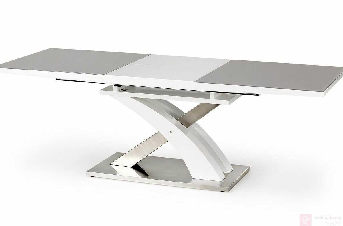 Stół SANDOR 2 Halmar 90x160-220 cm, Szary + biały