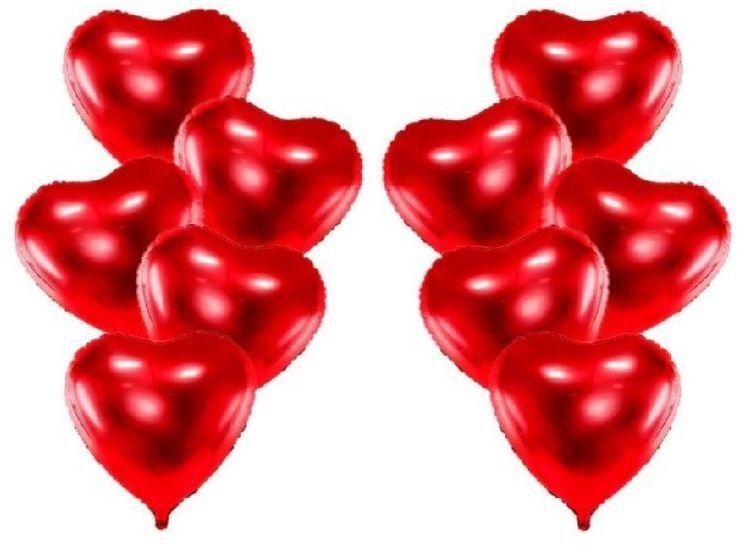 Balony foliowe Serca czerwone 45cm 10 sztuk FB9M-007-10x