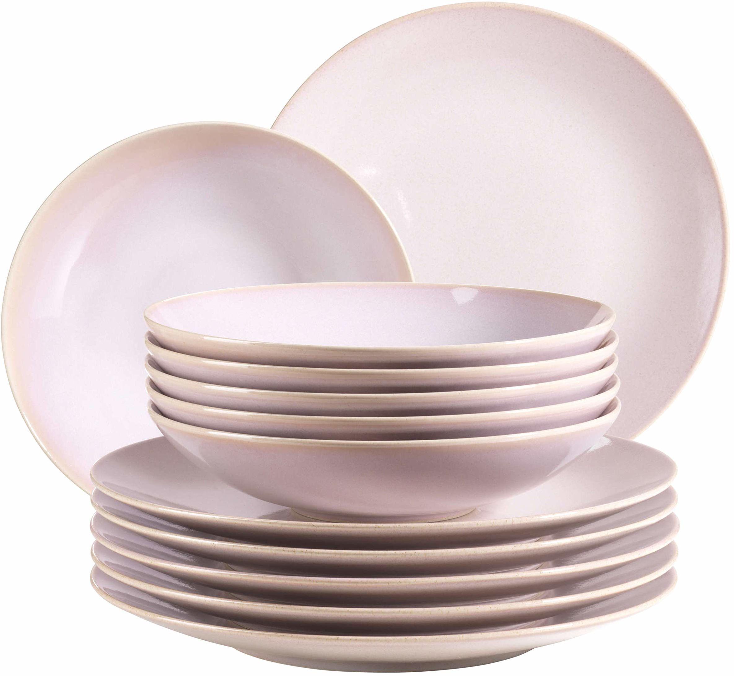 MÄSER 931553 Ossia, zestaw talerzy dla 6 osób w stylu śródziemnomorskim vintage, 12-częściowy, nowoczesny serwis stołowy z talerzami do zupy i talerzami obiadowymi w kolorze różowym, ceramicznym