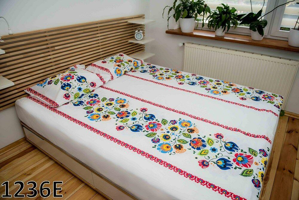 Pościel bawełniana 140x200 1236E biała Łowicka kwiatki czerwone kolorowe