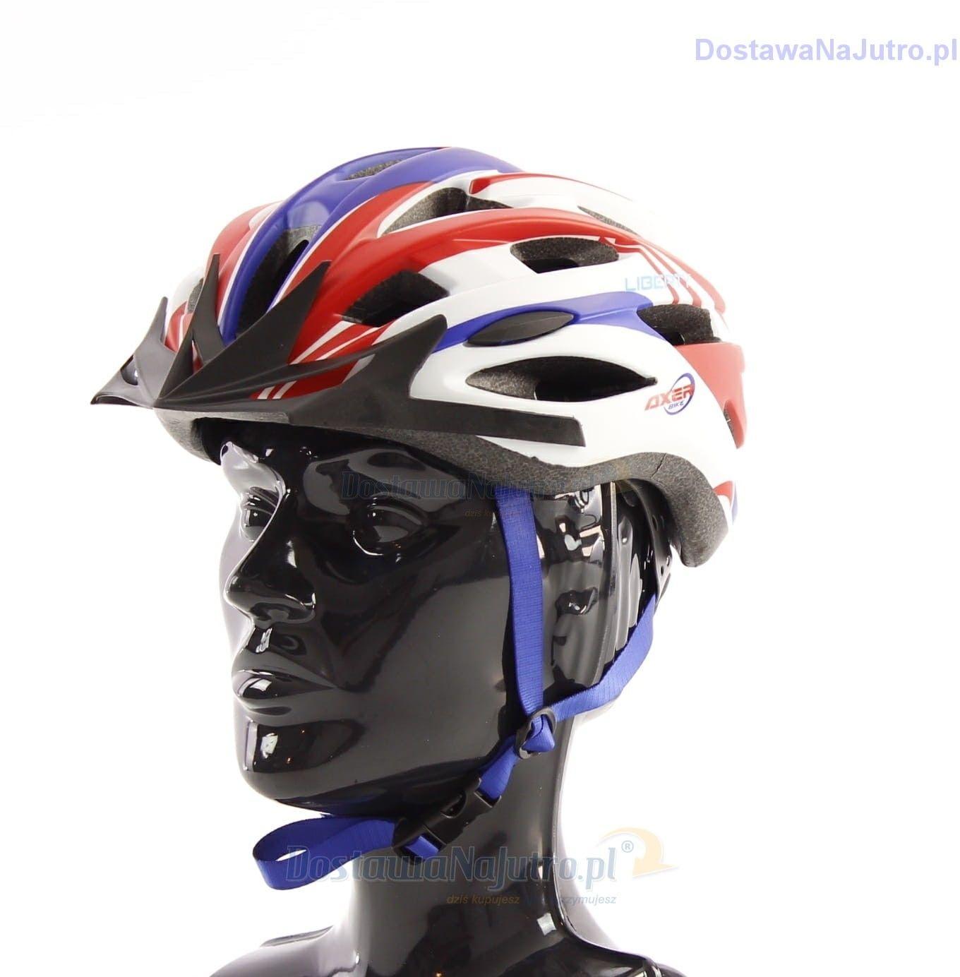 Kask rowerowy AXER LIBERTY RED/BLUE z daszkiem