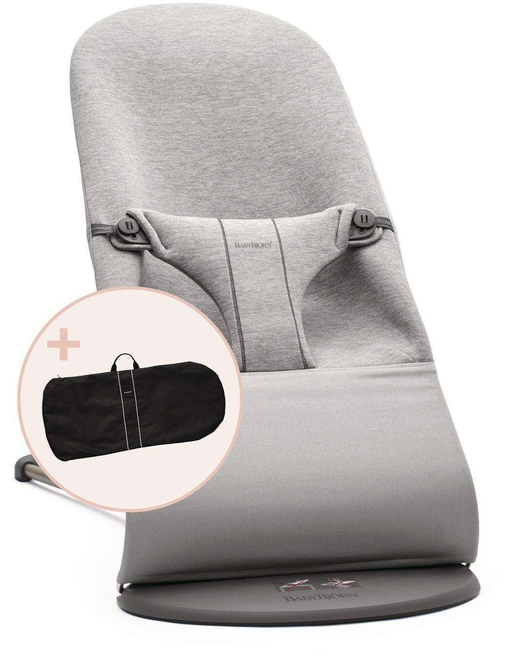 BABYBJORN - leżaczek BLISS 3D Jersey - Jasny Szary + pokrowiec na leżaczek