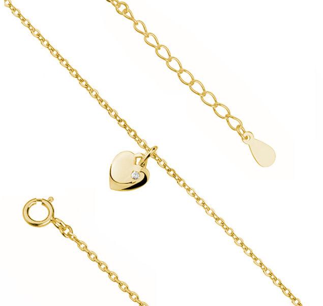Elegancka pozłacana srebrna bransoletka na nogę serce serduszko cyrkonia srebro 925 Z1860XG