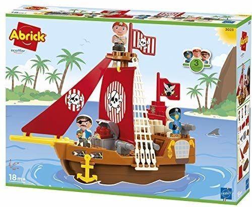 Ecoiffier Abrick Klocki Zestaw Statek Piracki + figurki piratów 23 el.